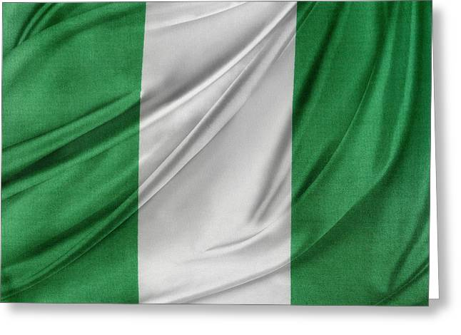 Textiles Photographs Photographs Greeting Cards - Nigerian flag Greeting Card by Les Cunliffe