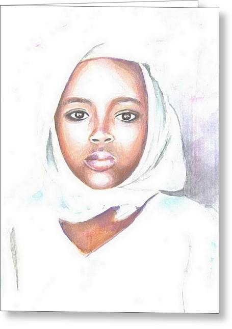 Nigerian Girl Greeting Card by Jovica Kostic
