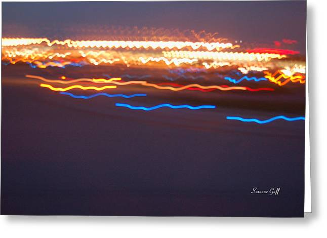 Abstract Digital Light Trails Greeting Cards - Night Abstract IV Greeting Card by Suzanne Gaff