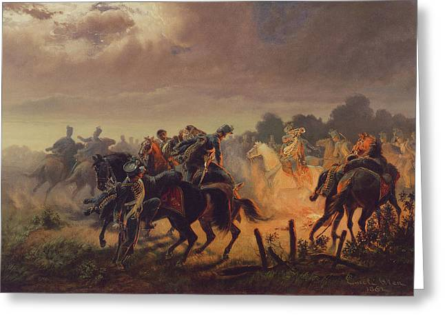 Ambush Greeting Cards - Night Alert, Hussar Outpost In The Italian Campaign 1848-49, 1862 Greeting Card by Wilhelm Emele