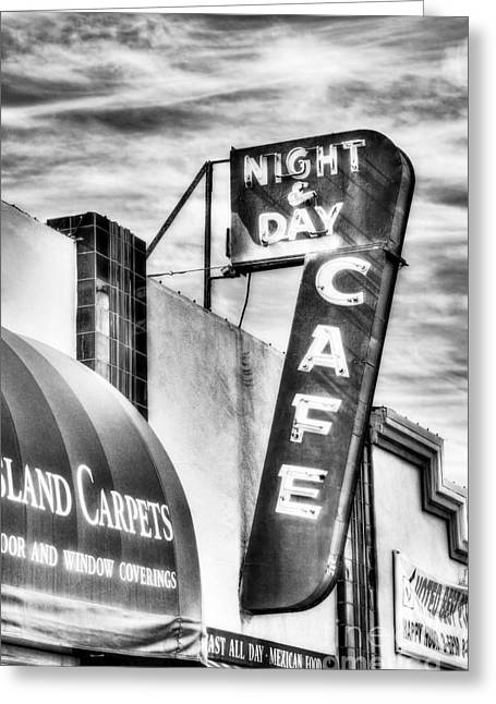 Night Cafe Greeting Cards - Night And Day BW Greeting Card by Mel Steinhauer
