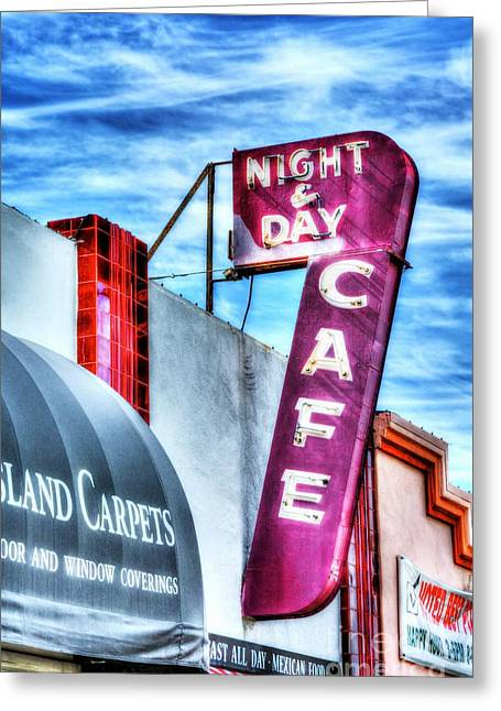 Purple Awnings Greeting Cards - Night And Day Greeting Card by Mel Steinhauer