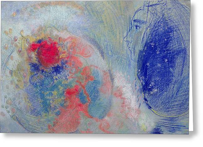 Red Abstract Pastels Greeting Cards - Night and Day Greeting Card by Odilon Redon