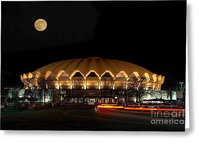 night and moon WVU basketball arena Greeting Card by Dan Friend