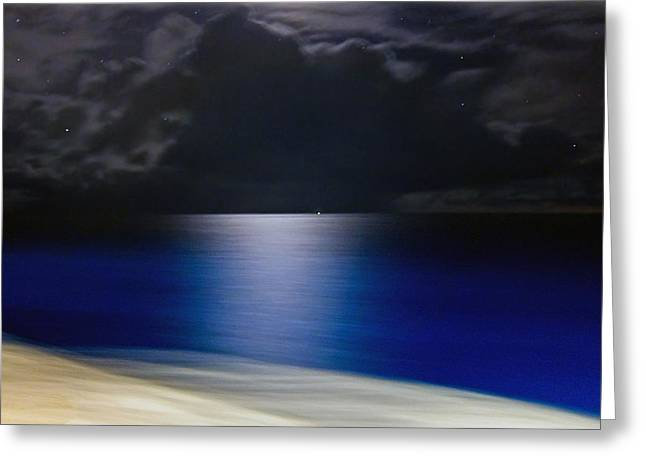 Sea Moon Full Moon Greeting Cards - Night and Water Greeting Card by Hanny Heim