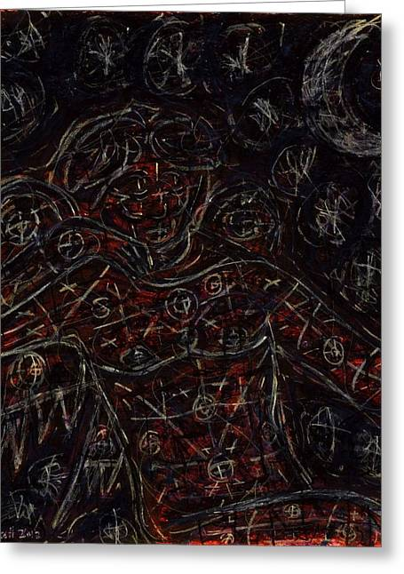 Ma.. Drawings Greeting Cards - Night Angel Greeting Card by Rachel Scott