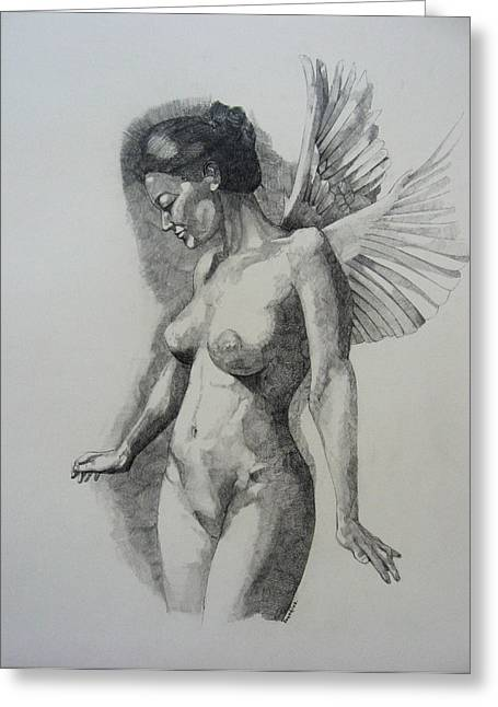 Pencil Nude Greeting Cards - Night Angel Greeting Card by Ray Agius