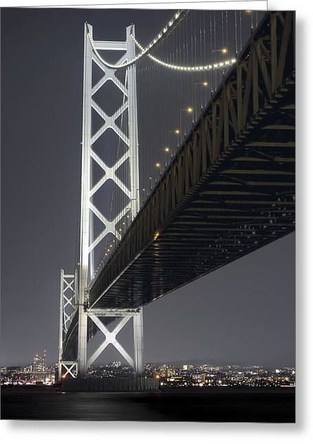 Night At Akashi Kaikyo Bridge Greeting Card by Daniel Hagerman