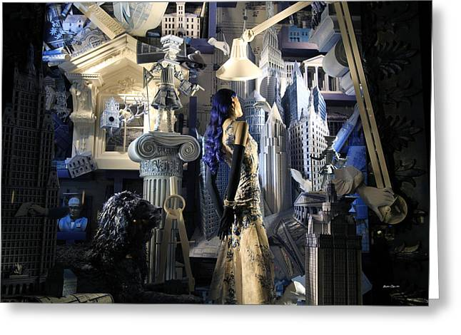Winter Night Greeting Cards - Night At Bergdorf Goodmans Department Store 4 - Christmas Window 2014 Greeting Card by Madeline Ellis