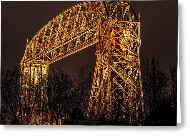 Canal Park Greeting Cards - Night At Duluth Aerial Lift Bridge Greeting Card by Paul Freidlund