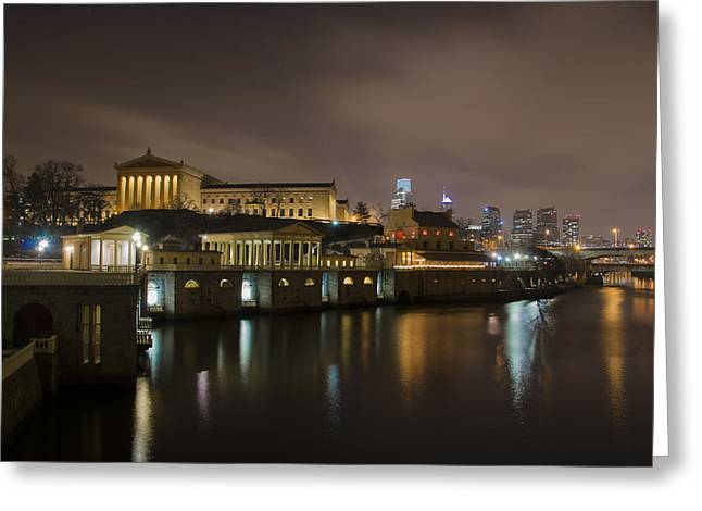 Greeting Cards - Night at Fairmount Waterworks and the Philadelphia Art Museum Greeting Card by Bill Cannon