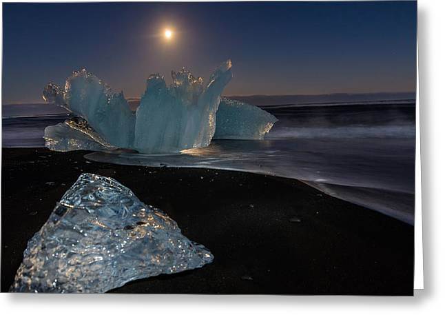 Moon Beach Pyrography Greeting Cards - Night at Glacier Lagoon  Greeting Card by Rafn Sig