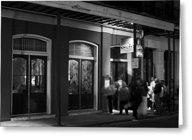 Menu Greeting Cards - Night at Muriels Jackson Square in Black and White Greeting Card by Greg and Chrystal Mimbs