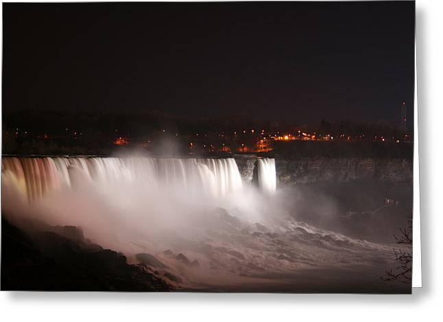 River Flooding Greeting Cards - Night At Niagara Falls Greeting Card by Kathy Peltomaa Lewis