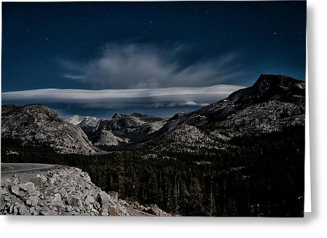 Mountain Road Greeting Cards - Night at Olmstead Point Greeting Card by Cat Connor