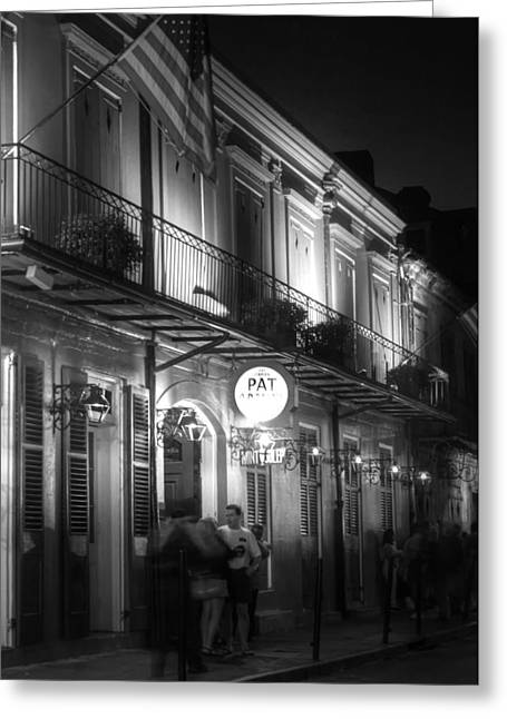 French Doors Greeting Cards - Night at Pat Obriens Greeting Card by Greg and Chrystal Mimbs