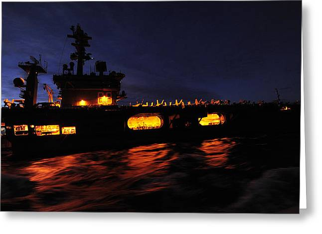Military Might Greeting Cards - Night at Sea Greeting Card by Mountain Dreams