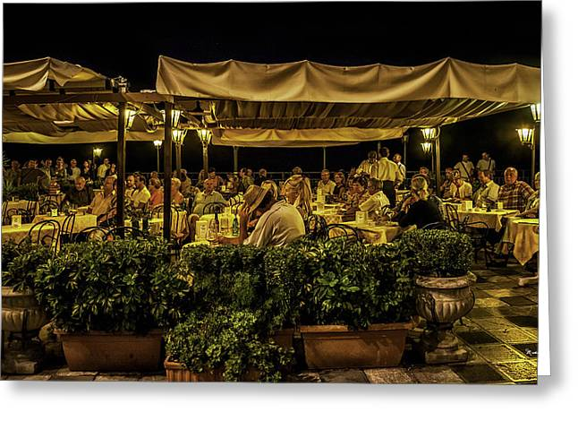 Night Cafe Greeting Cards - Night at the Cafe - Taormina - Italy Greeting Card by Madeline Ellis
