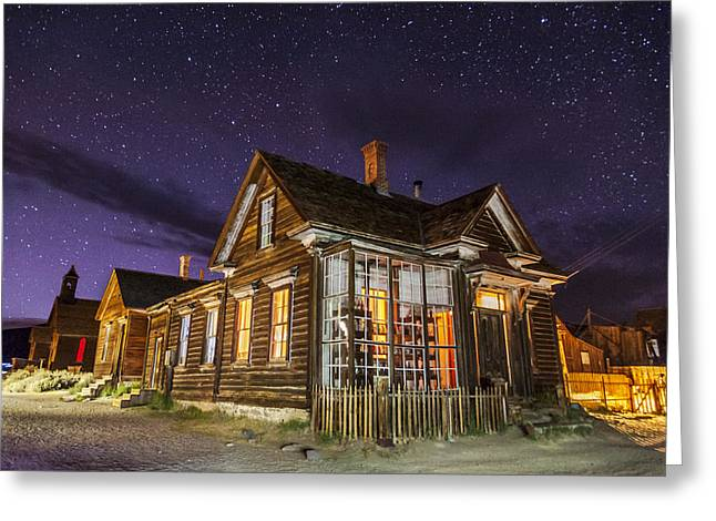 Ghost Town Greeting Cards - Night at the Cain House Greeting Card by Cat Connor