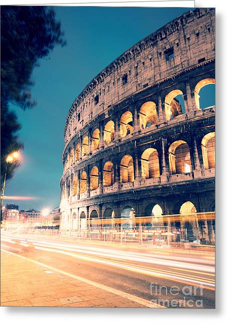 Long Street Greeting Cards - Night at the colosseum II Greeting Card by Matteo Colombo