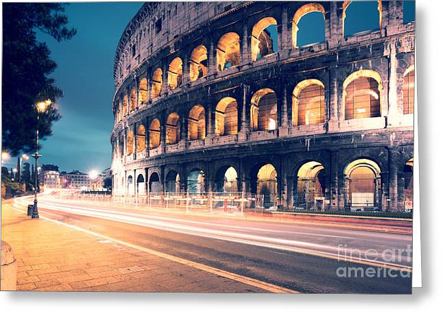 Long Street Greeting Cards - Night at the colosseum Greeting Card by Matteo Colombo