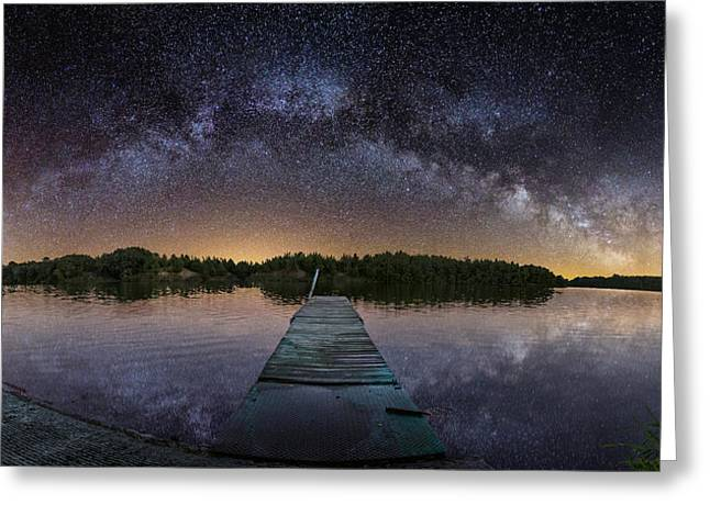 Panos Greeting Cards - Night at the Lake  Greeting Card by Aaron J Groen