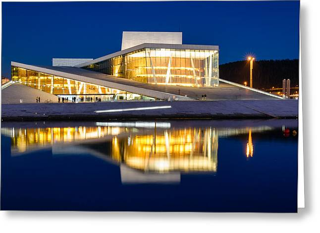 Oslo Opera House Greeting Cards - Night at the Oslo Opera House Greeting Card by Michael Blanchette