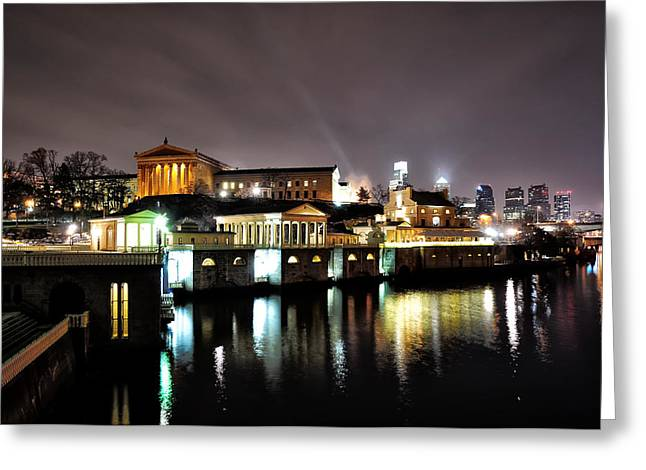 Phila Greeting Cards - Night  at the Philadelphia Art Museum Greeting Card by Bill Cannon