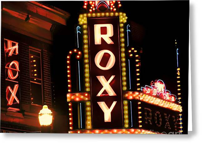 Winter Night Greeting Cards - Night At The Roxy Greeting Card by Tami Quigley