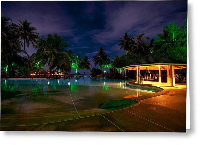 Maldivian Greeting Cards - Night at Tropical Resort 1 Greeting Card by Jenny Rainbow