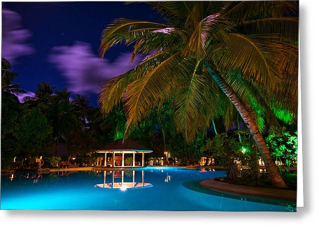 Super Stars Greeting Cards - Night at Tropical Resort Greeting Card by Jenny Rainbow