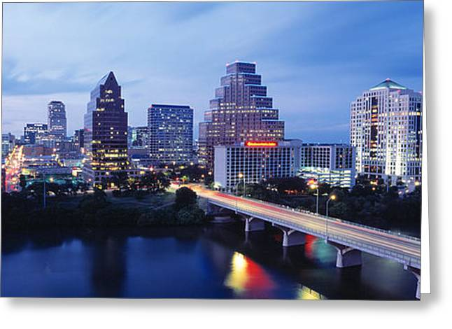 Austin Tx Greeting Cards - Night, Austin, Texas, Usa Greeting Card by Panoramic Images