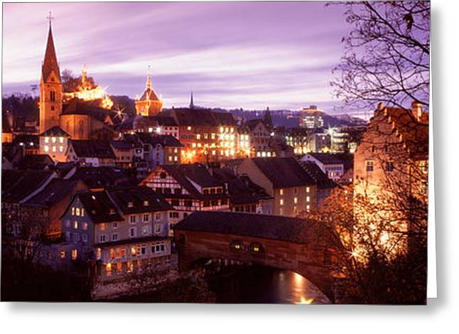 Historical Buildings Greeting Cards - Night, Baden, Switzerland Greeting Card by Panoramic Images