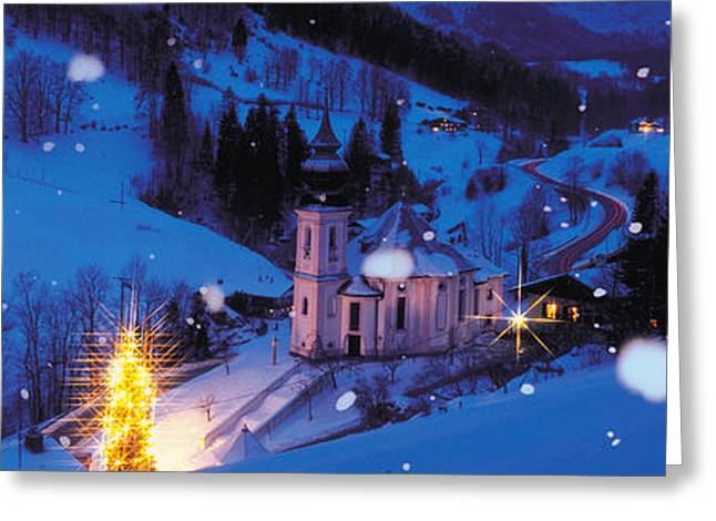 Snowy Evening Greeting Cards - Night Bavaria Maria Gern Germany Greeting Card by Panoramic Images