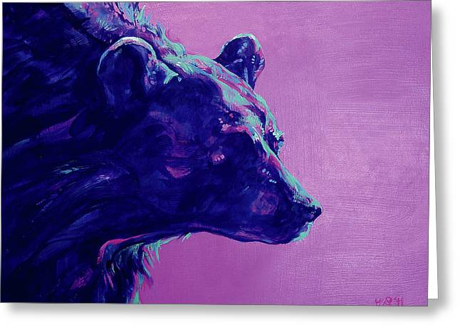 Violet Blue Greeting Cards - Night Bear Greeting Card by Derrick Higgins