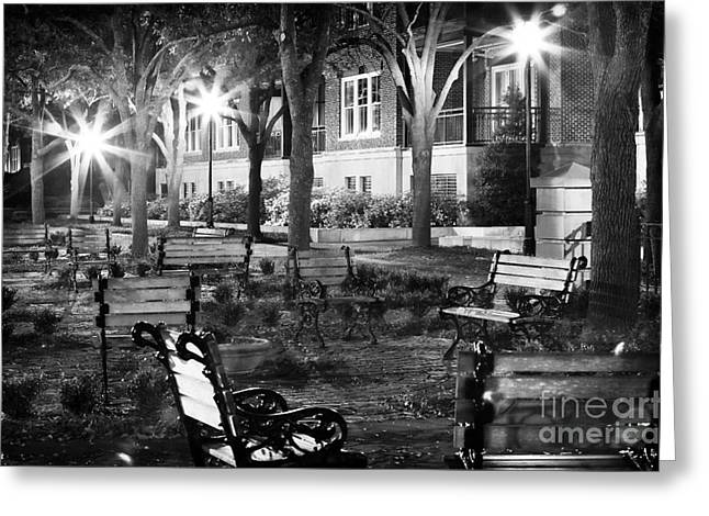 Night Shot Greeting Cards - Night Benches Greeting Card by John Rizzuto