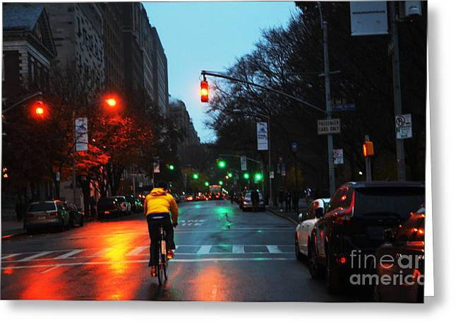 Fifth Avenue Greeting Cards - Night biker on Fifth Greeting Card by AdSpice Studios