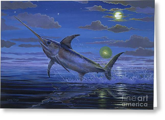 Sportfishing Boats Greeting Cards - Night Bite Off0066 Greeting Card by Carey Chen