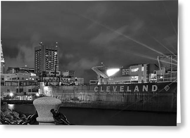Fame Greeting Cards - Night Black and White Panorama Greeting Card by Frozen in Time Fine Art Photography