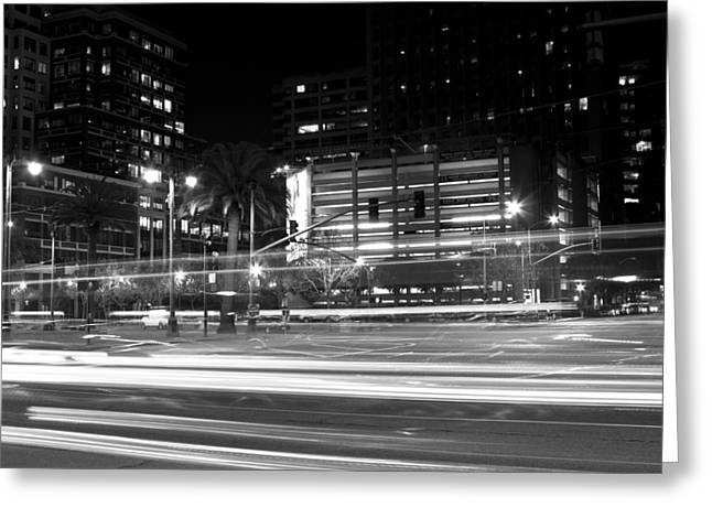 Downtown San Francisco Greeting Cards - Night Blurs Greeting Card by Bryant Coffey