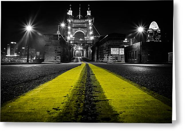 Night Bridge Greeting Card by Keith Allen
