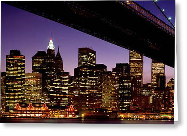 Wtc Center Greeting Cards - Night Brooklyn Bridge Skyline New York Greeting Card by Panoramic Images