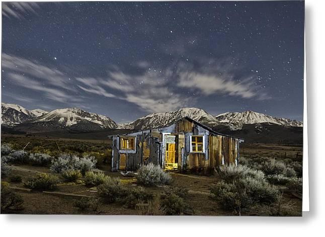 Siera Nevada Greeting Cards - Night Cabin Greeting Card by Christian Heeb