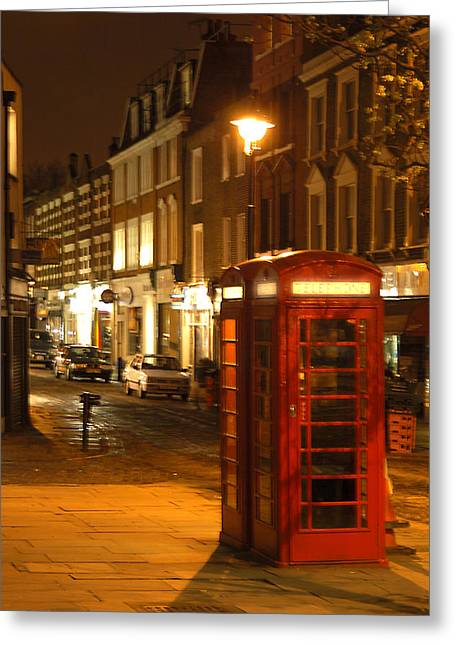 Telephone Booth Greeting Cards - Night Call Greeting Card by Mike McGlothlen