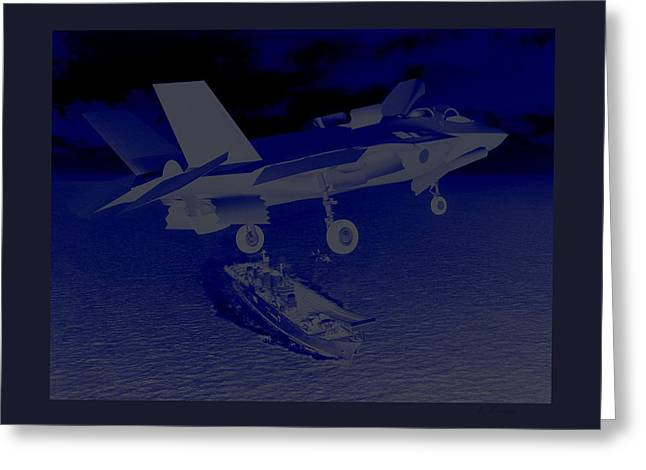Conditions Mixed Media Greeting Cards - F 35 Strike Fighter Night Assault Carrier Landings Combat Conditions US Marine Corps Greeting Card by L Brown