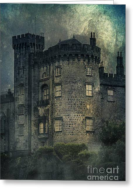 Haze Mixed Media Greeting Cards - Night Castle Greeting Card by Svetlana Sewell