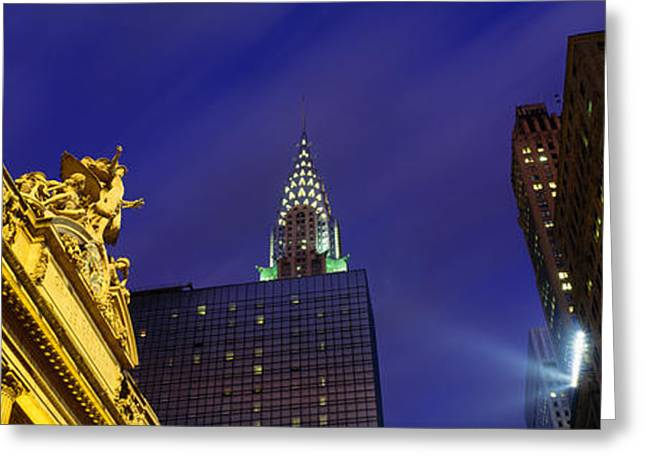 20th Greeting Cards - Night, Chrysler Building, Grand Central Greeting Card by Panoramic Images