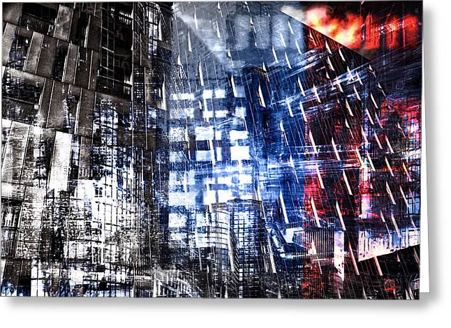 Abstract Digital Pyrography Greeting Cards - Night City III Greeting Card by Neil Hemsley