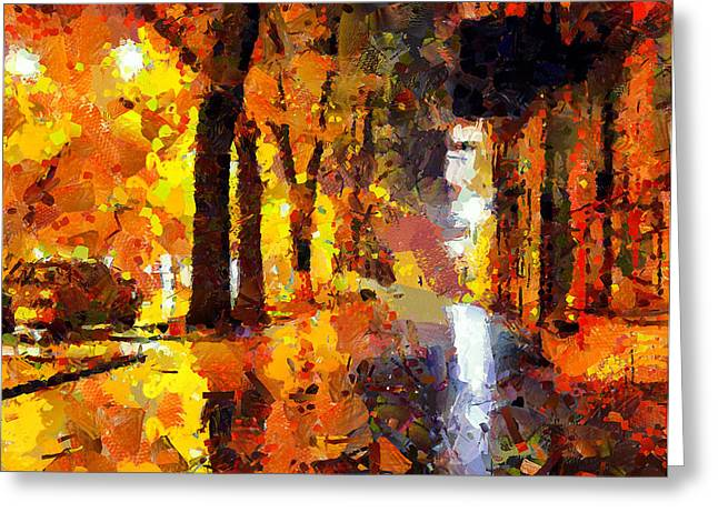 Old Town Digital Greeting Cards - Night City Lights Greeting Card by Yury Malkov