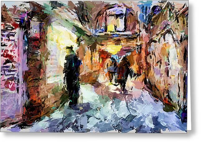Night Cafe Digital Art Greeting Cards - Night City Walk Greeting Card by Yury Malkov